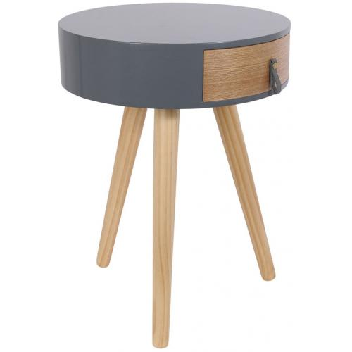 3S. x Home - Table de Chevet en Bois Gris et Beige NOURA - Table de chevet