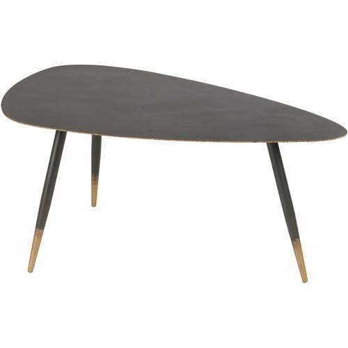 3S. x Home - Table Basse 100cm en Métal Noir et Doré EDNA - Table basse