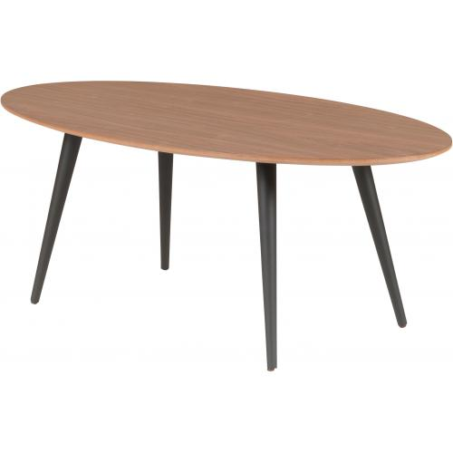3S. x Home - Table Basse Ovale Beige Piétement en Bois Noir ZOLA - Le salon