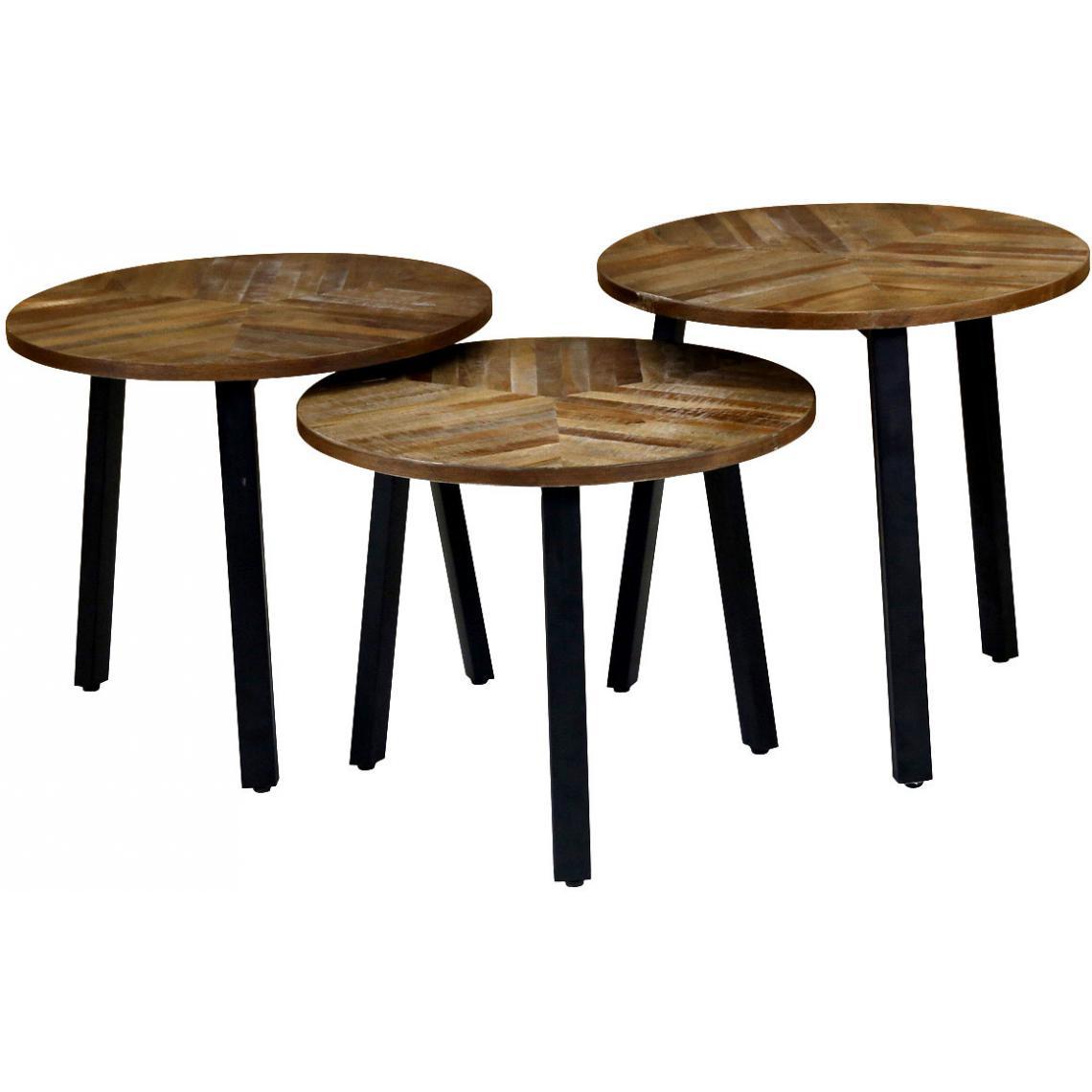 Set de 3 tables gigognes rondes en teck marron et noir bechir 3 suisses - Les trois suisses meubles ...