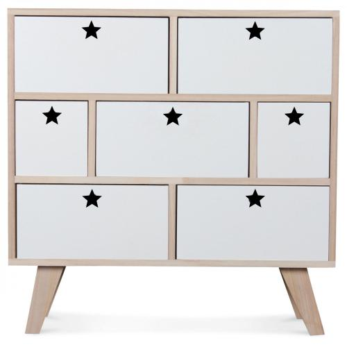 3S. x Home - Commode 7 Tiroirs en Bois Blanc et Beige TWINKLE - Commode