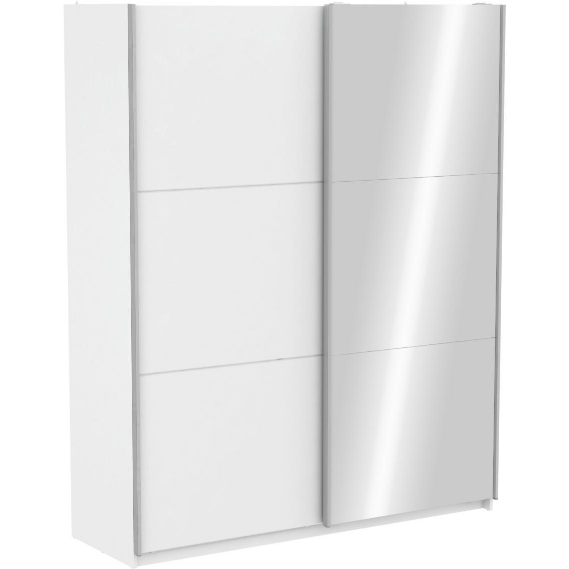 Armoire Avec 1 Porte Coulissante Blanche Et 1 Porte Coulissante Miroir 180cm Scherer 3 Suisses