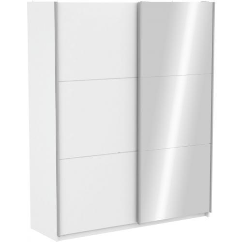 Armoire Avec 1 Porte Coulissante Blanche Et 1 Porte Coulissante Miroir 180cm 3s X Home