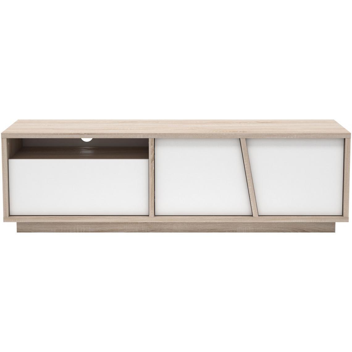 Meuble Tv Bibliothèque Blanc meuble tv beige et blanc avec 1 niche 1 tiroir et 2 portes jones plus de  détails