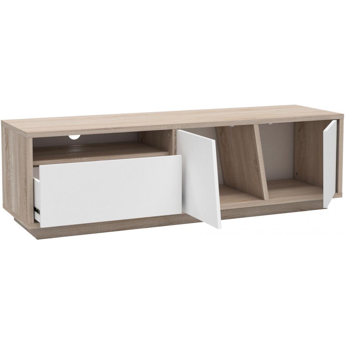 Meuble Tv Grande Taille meuble tv beige et blanc avec 1 niche 1 tiroir et 2 portes jones plus de  détails