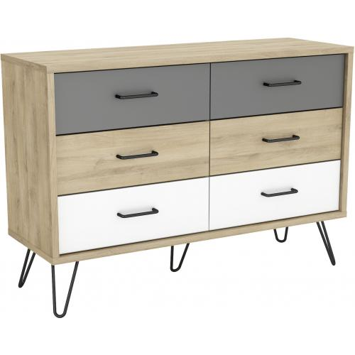 3S. x Home - Commode Scandinave avec 6 Tiroirs Multicolore ELLIOR - Dressing & rangement