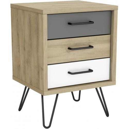 3S. x Home - Table de Chevet Scandinave avec 3 Tiroirs Multicolore ELLIOR - Chambre adulte