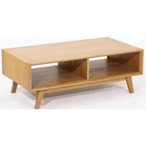3S. x Home - Table Basse Scandinave avec 2 Niches en Teck Massif Beige PERCY - Table basse