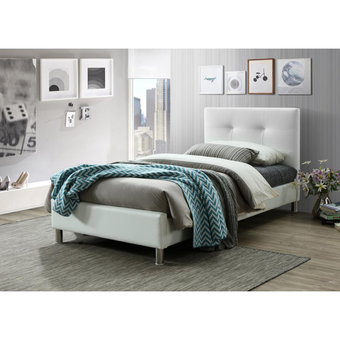 Tete De Lit Ethnique lit blanc avec tête de lit capitonnée 90cm nina 1 avis plus de détails