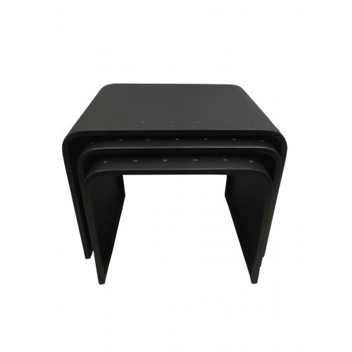 3S. x Home - Lot de 3 Tables Basses Gigognes en M?tal Noir STEEL - Meuble & Déco