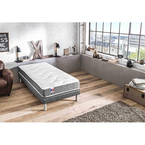 Selenia - Ensemble Matelas Mousse 2 Faces et Sommier Tapissier Matelassé JORDY - Meuble deco made in france