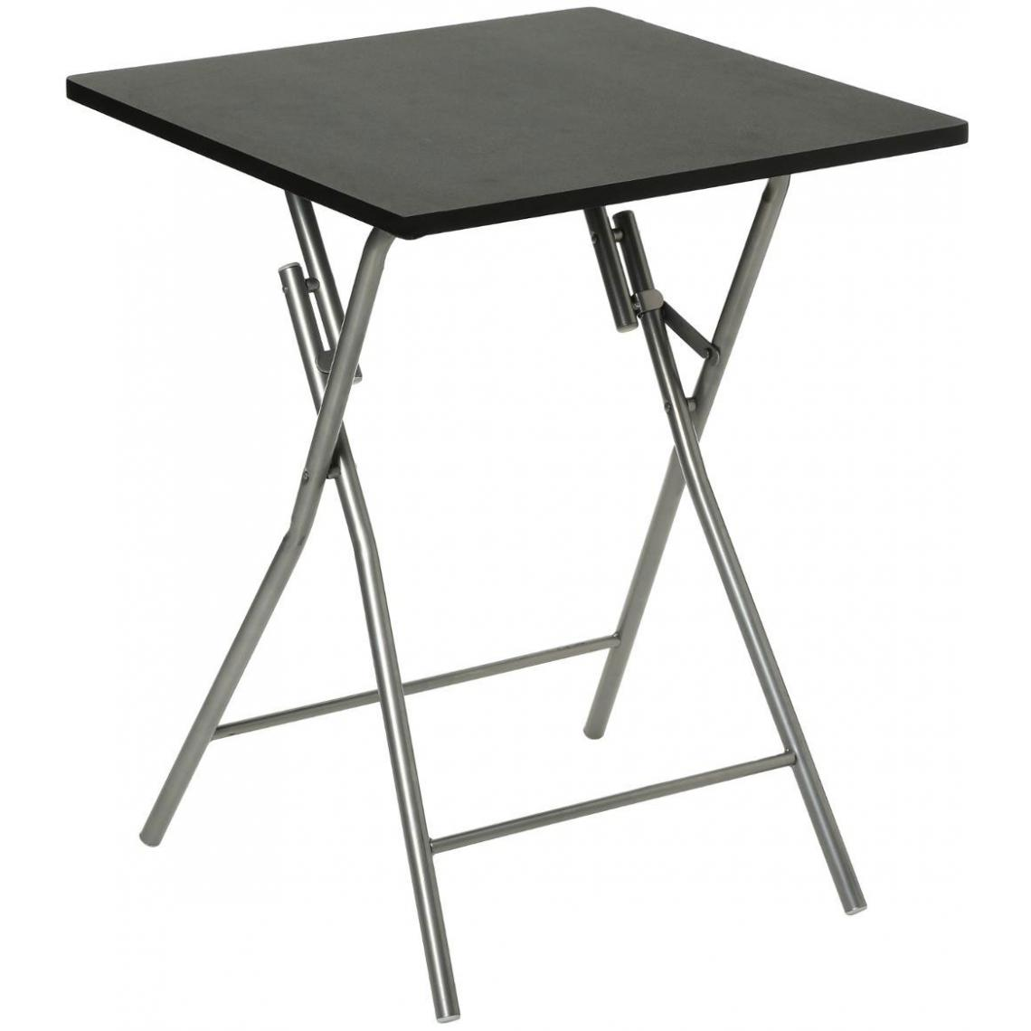 Table Pliante Noir Piétement en Acier Argent EASE