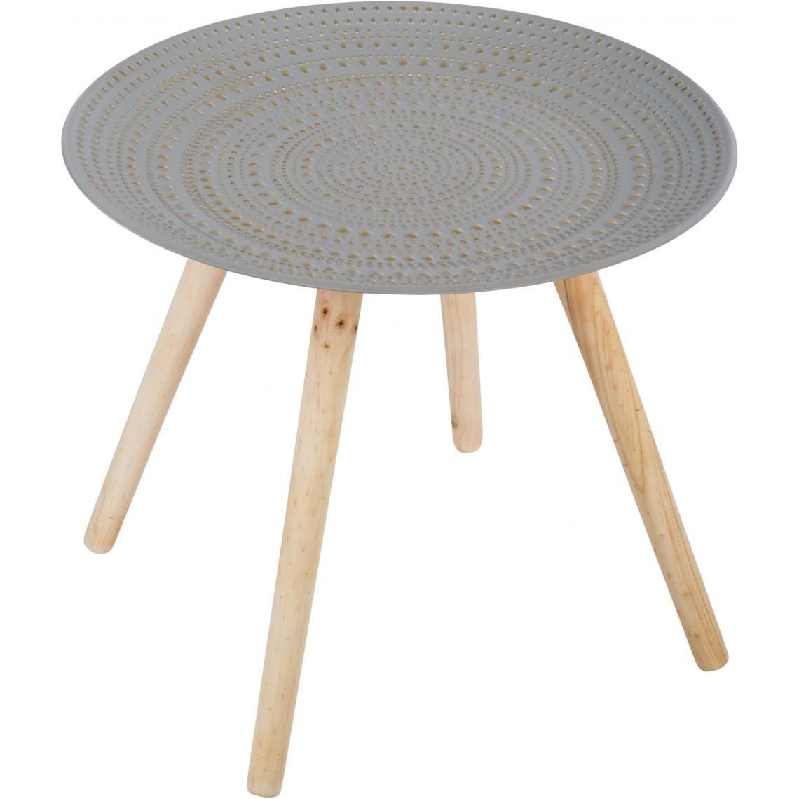 Table Basse Grise Pietement En Bois Volis