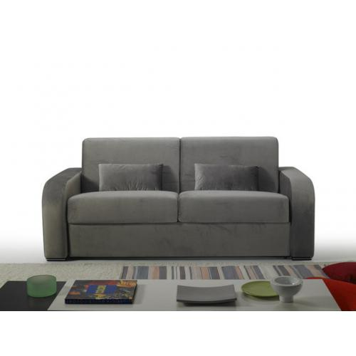 3S. x Home - Canapé Convertible Express Velours Gris 3 Places BELLINO - Canapé