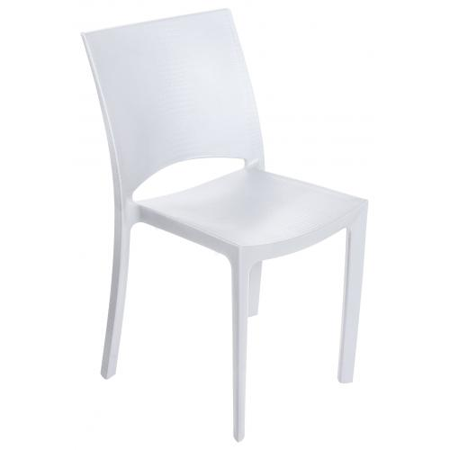 3S. x Home - Chaise Design Blanche Effet Croco ARLEQUIN - Chaise, tabouret, banc