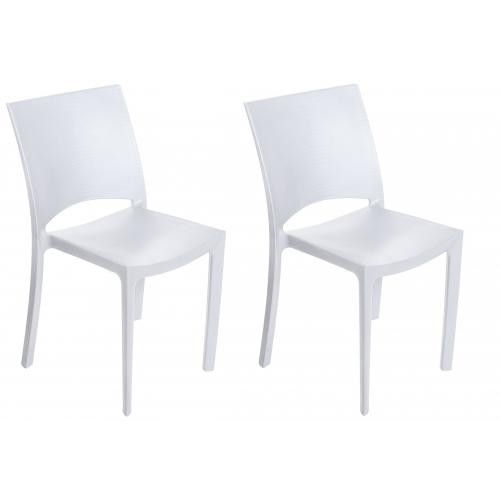 3S. x Home - Lot de 2 Chaises Blanches Effet Croco ARLEQUIN - Chaise