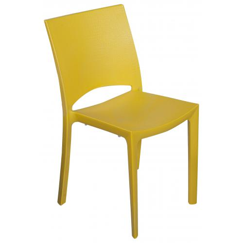 3S. x Home - Chaise Design Jaune Effet Croco ARLEQUIN - Chaise, tabouret, banc