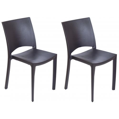 3S. x Home - Lot de 2 Chaises Anthracite Effet Croco ARLEQUIN - GRANDSOLEIL