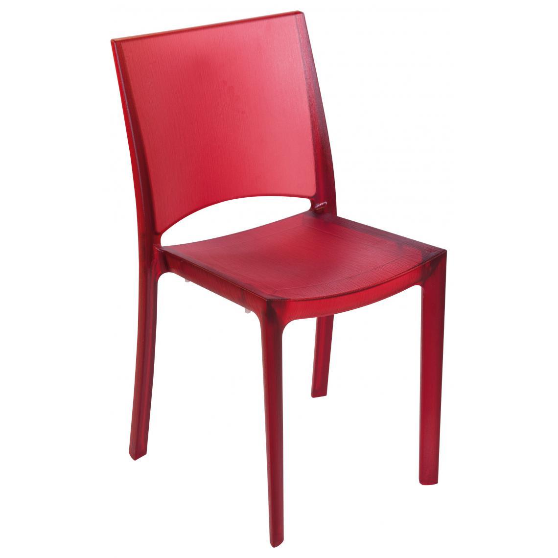 Chaise design rouge opaque fum e transparente nilo 3suisses - Chaise transparente rouge ...