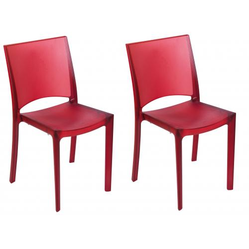 3S. x Home - Lot De 2 Chaises Rouges Fumées Transparentes NILO - GRANDSOLEIL