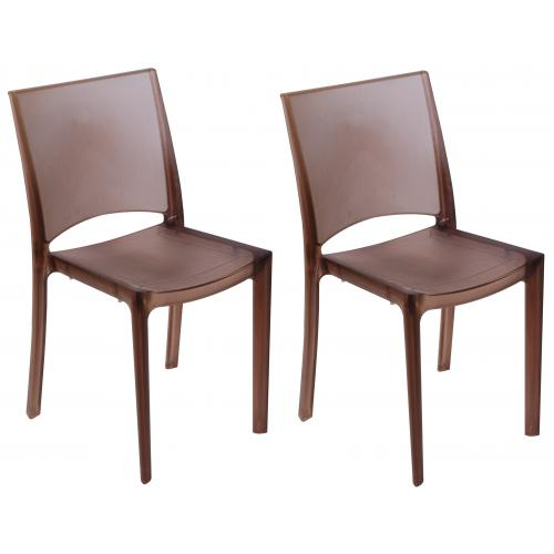 3S. x Home - Lot De 2 Chaises Marron Fumées Transparentes NILO - GRANDSOLEIL