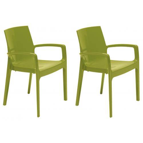 3S. x Home - Lot de 2 Chaises Vertes GENES - GRANDSOLEIL