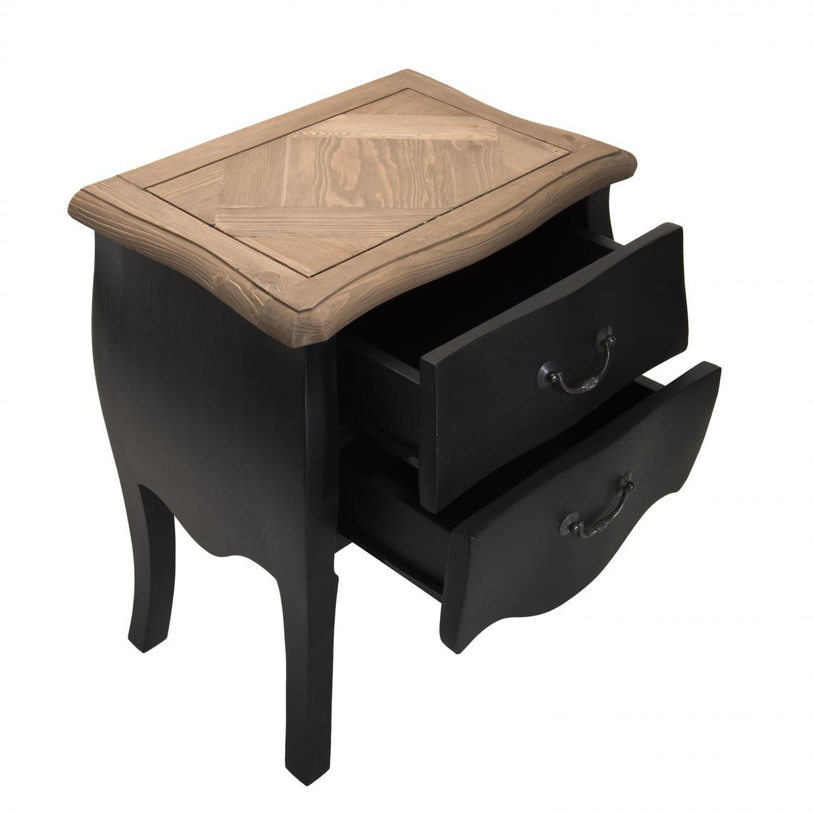 Table de Chevet Noire 6 Tiroirs en Pin Vieilli LAND MACABANE  6