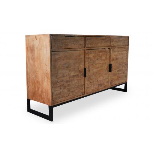 fa/çade en bois massif WHYNOTHOME Buffet avec 2 portes et 3 tiroirs structure en MDF laqu/é couleur ardoise Pieds en bois massif Poign/ée pendulaire encastr/ée.