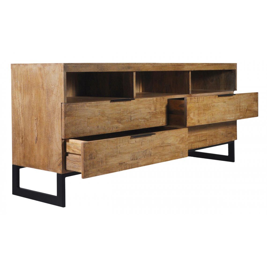 Meuble Tv Grande Taille meuble tv en bois massif chêne clair avec 4 tiroirs et 3 niches feely plus  de détails