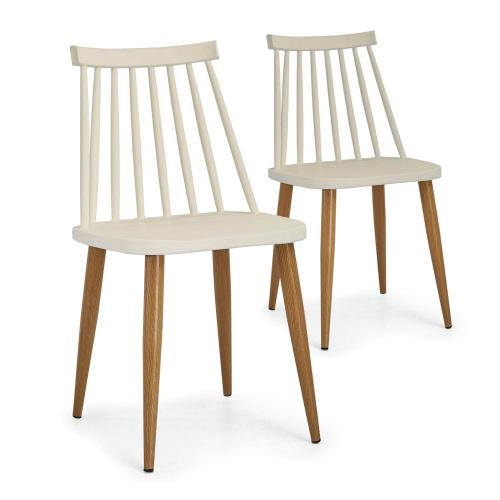 3S. x Home - Lot de 2 Chaises Beige ILLICO - Chaise