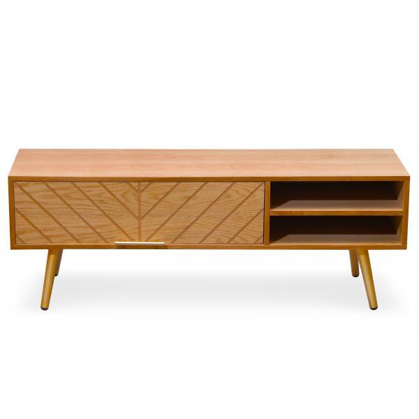 meuble tv en bois clair avec 1 tiroir et 2 etag res diary