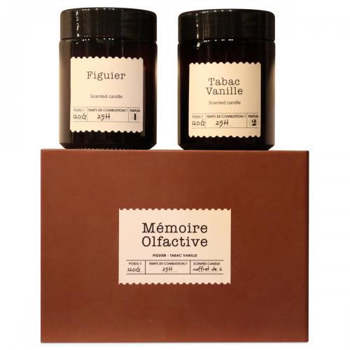 Coffret de 2 Bougies Mémoire Olfactive Figuier et Tabac Vanille BEYA