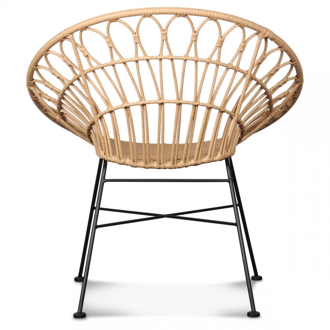 chaise rotin fer noir