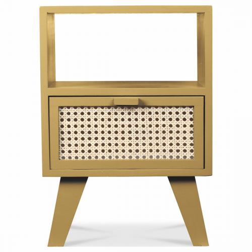 3S. x Home - Table de Chevet Cannage en Bois 1 Tiroir Miel BEE - Table de chevet