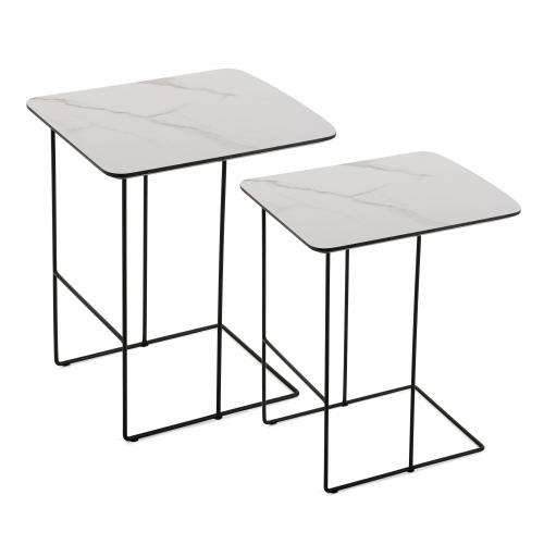 3S. x Home - Lot de 2 Tables en Métal Imitation Marbre COMPEGNE - Table basse