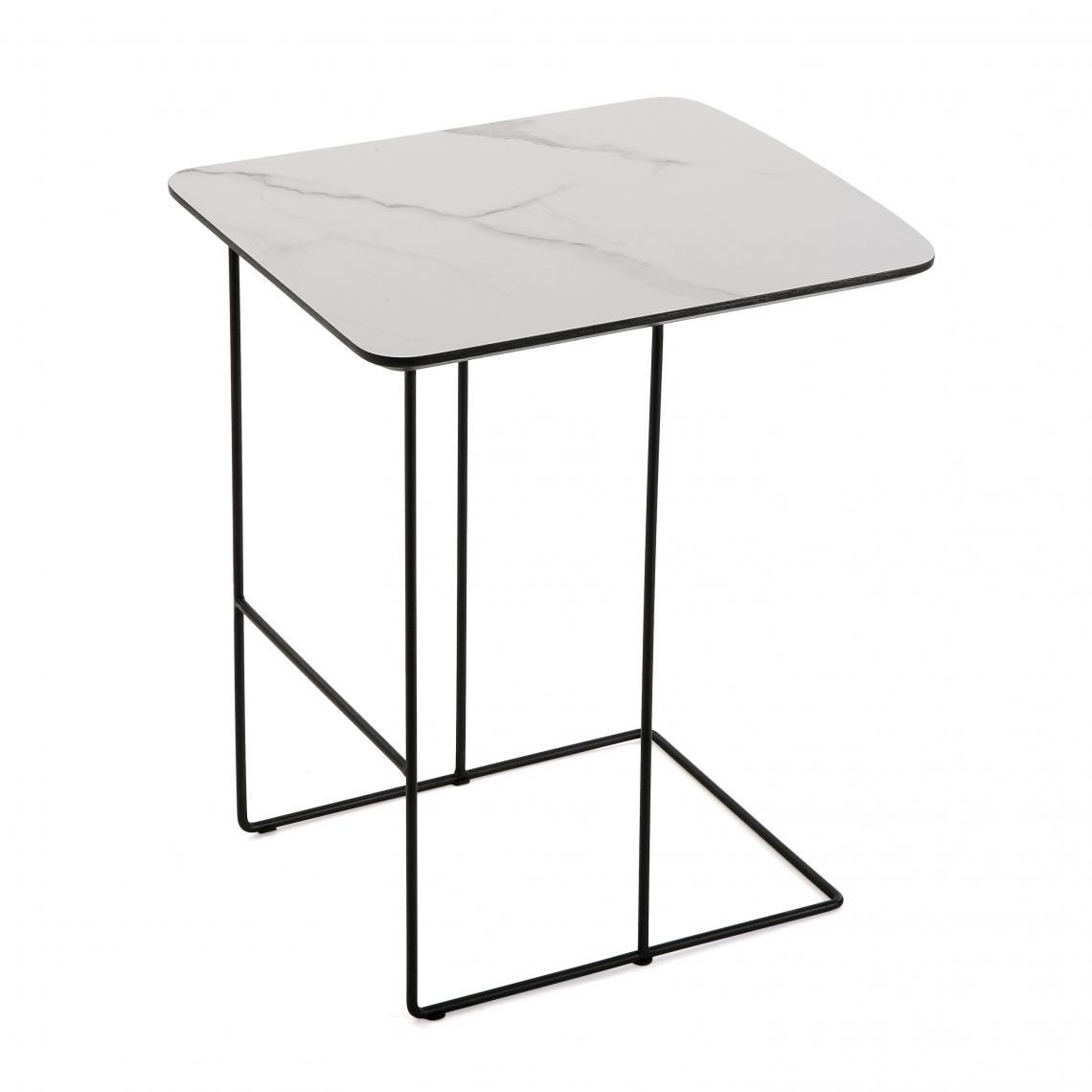 Lot de 2 Tables en Métal Imitation Marbre COMPEGNE sWkIp