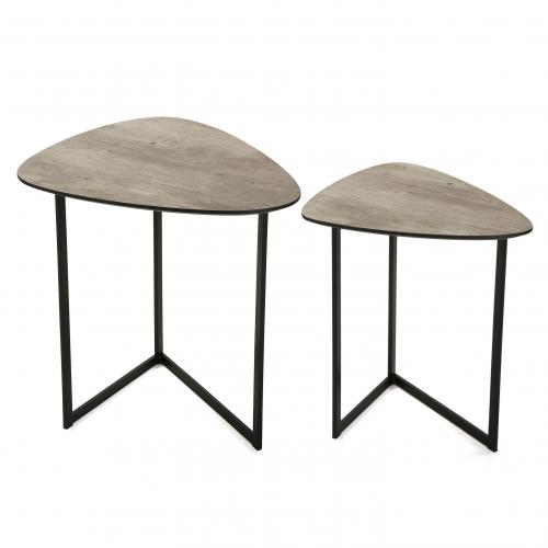 3S. x Home - Lot de 2 Tables d'Appoint Effet Ciment BANQUI - Table basse