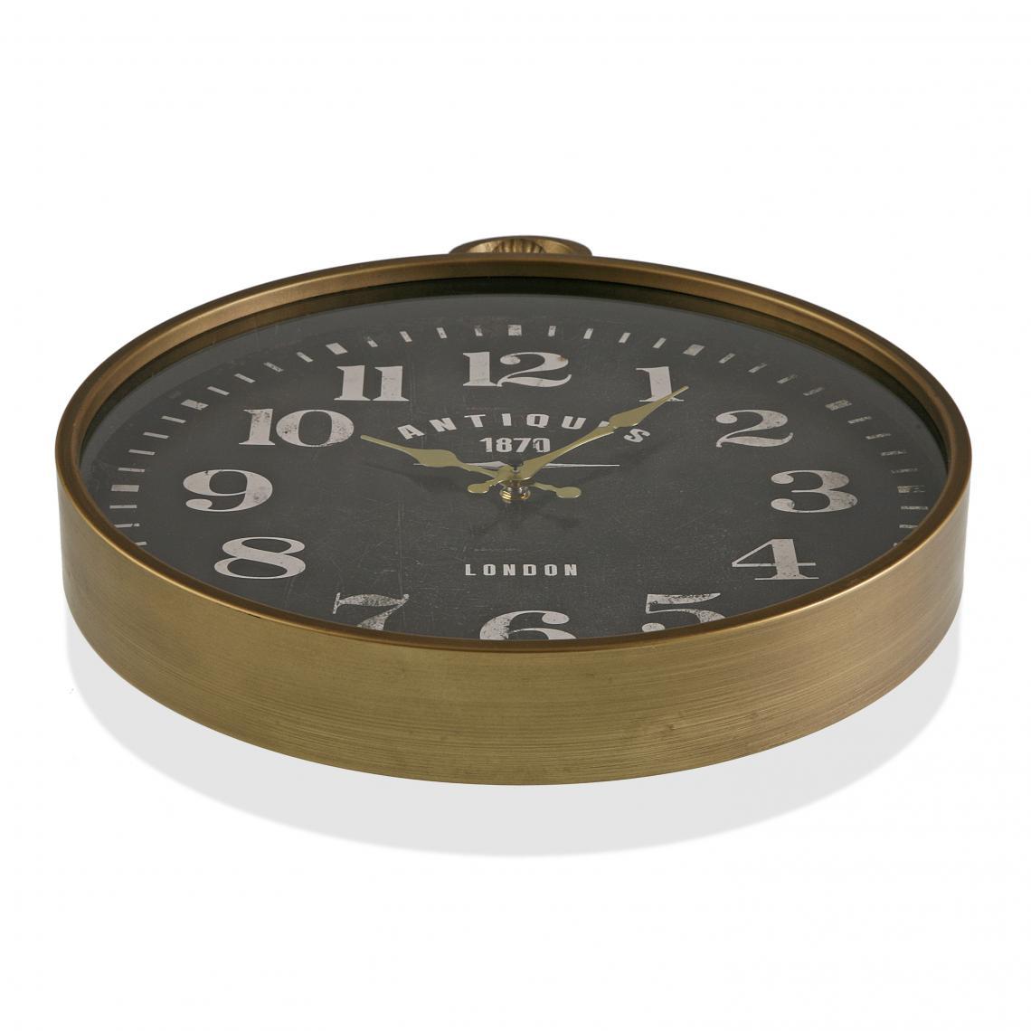 Horloge Murale en Métal Noir 40 cm avec Crochet FANCE BzmJ7