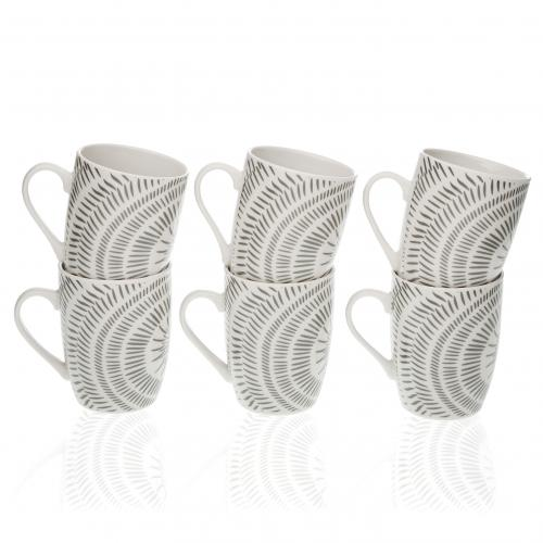 3S. x Home - Set de 6 Mugs Gris en Porcelaine LITOU - Arts de la table