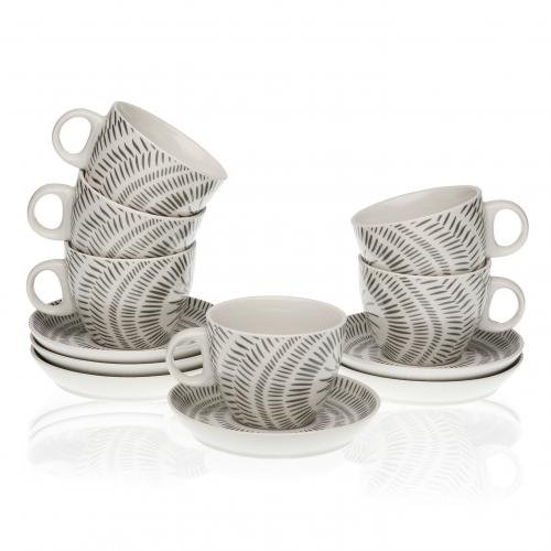 3S. x Home - Set de 6 Tasses et 6 Assiettes Gris en Porcelaine LITOU - Arts de la table