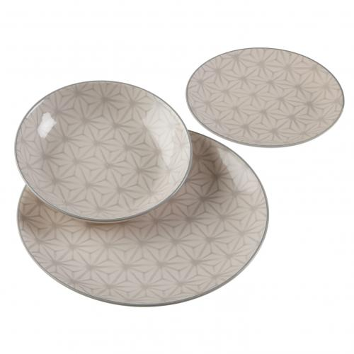 3S. x Home - Lot de 18 Assiettes Imprimés Gris 3 Tailles ABOL - Arts de la table