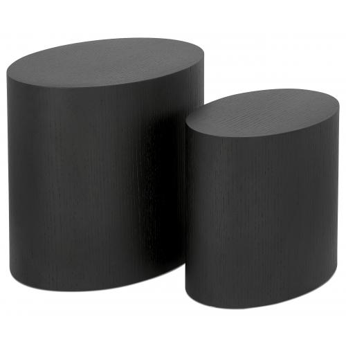 3S. x Home - Lot de 2 Tables Basses Ovales Noires CARL - Le salon