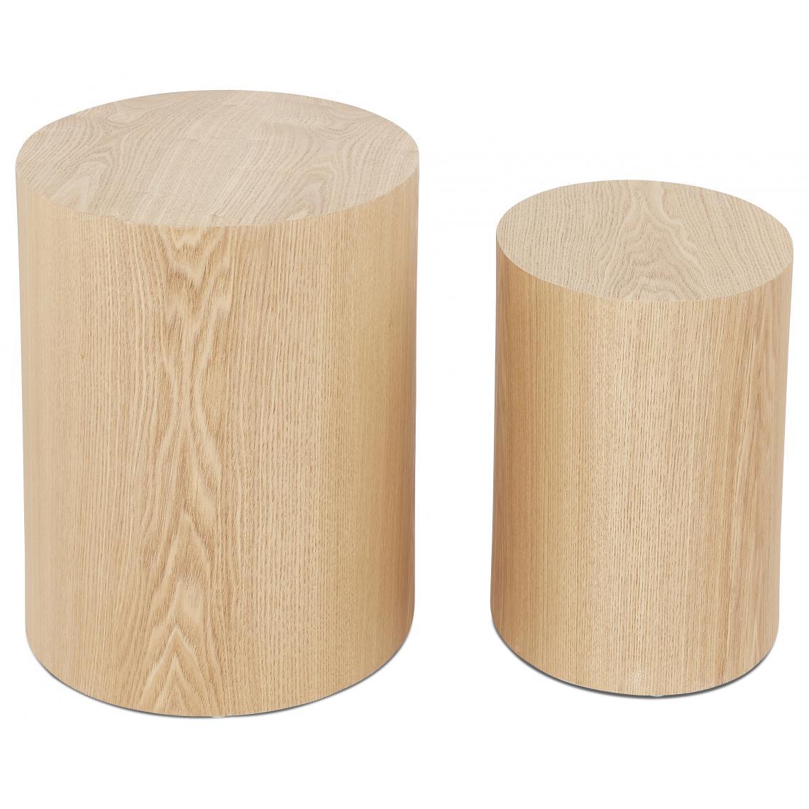 Lot de 2 Tables Basses Ovales Beiges CARL u5ZD4