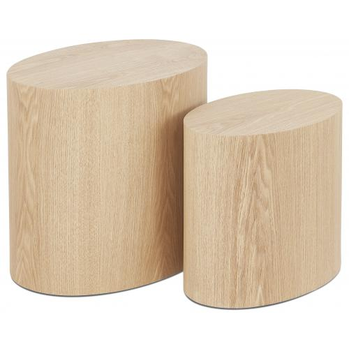 3S. x Home - Lot de 2 Tables Basses Ovales Beiges CARL - Table basse