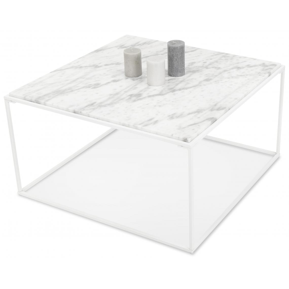 Table Basse Carre Blanche Effet Marbre Et Pietement En Metal Blanc