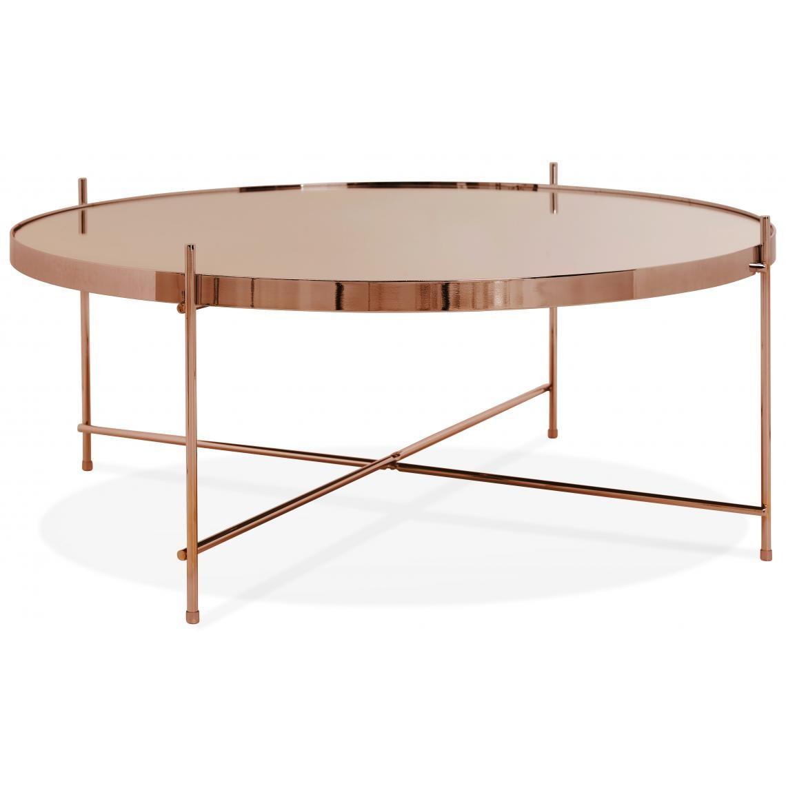 Table Basse Ronde Grande En Verre Cuivre Et Pietement En Metal