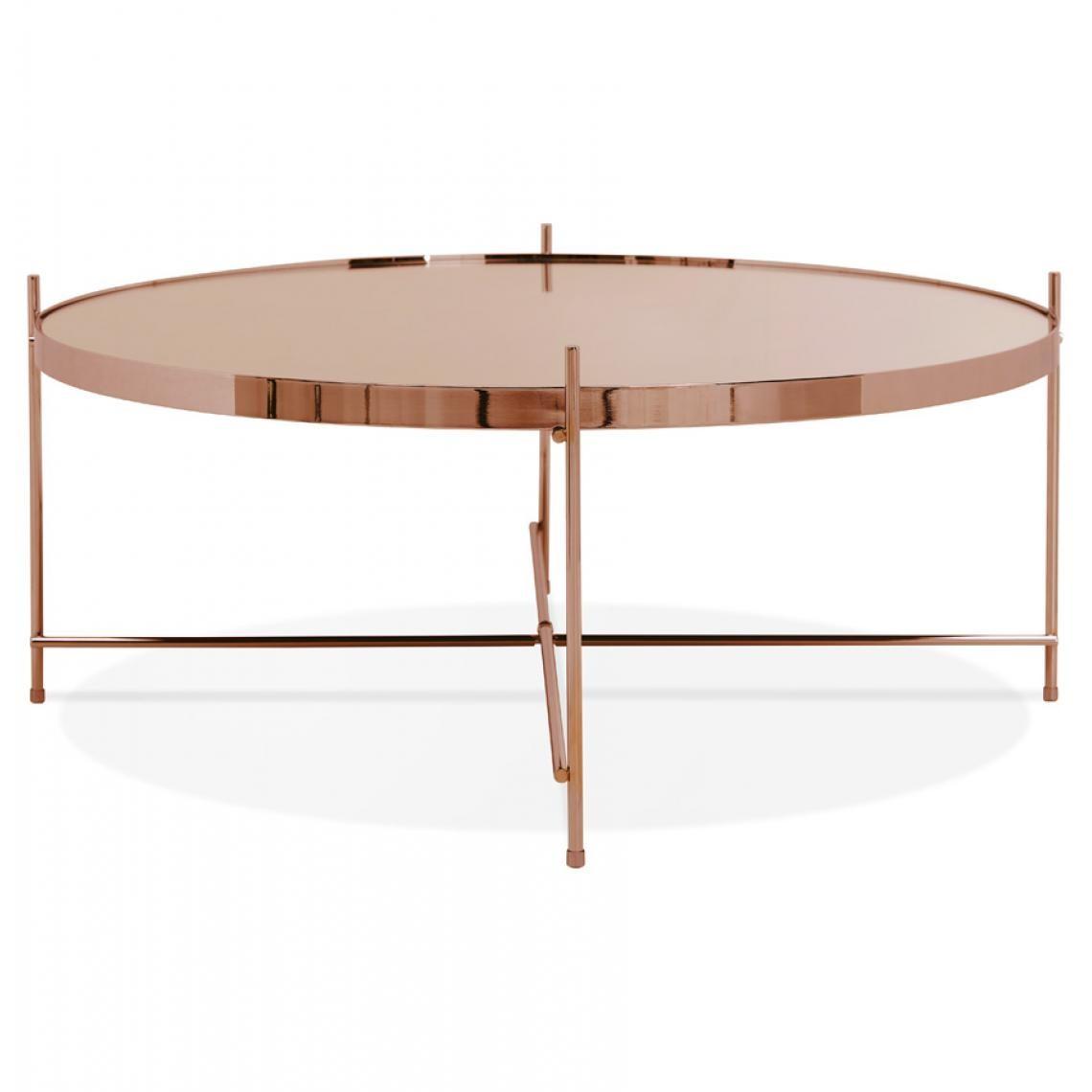 Table Basse Ronde Grande En Verre Cuivre Et Pietement En Metal Round