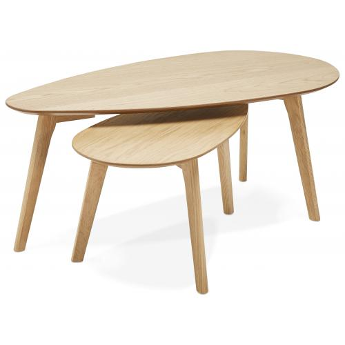 3S. x Home - Lot de 2 Tables Basses Gigognes Beige en Chêne MUSE - Table basse