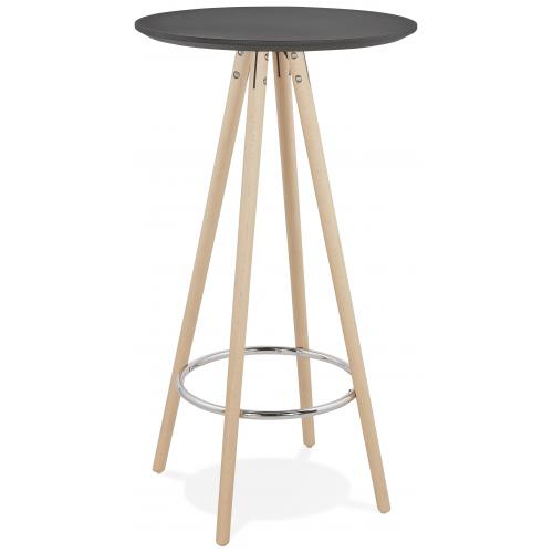 3S. x Home - Table de Bar Ronde en Bois de Hêtre Beige et Piétement Beige AGENCY - Table