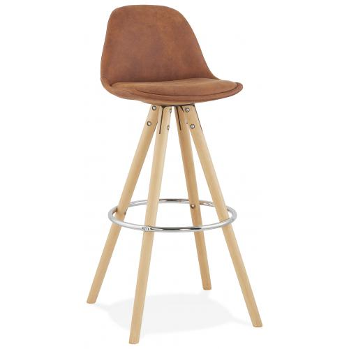 3S. x Home - Tabouret de Bar Marron et Piétement Beige MARY - Meuble & Déco